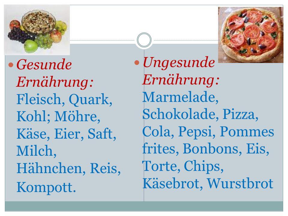 Gesunde Ernährung: Fleisch, Quark, Kohl; Möhre, Käse, Eier, Saft, Milch, Hähnchen, Reis, Kompott. Ungesunde Ernährung: Marmelade, Schokolade, Pizza, C