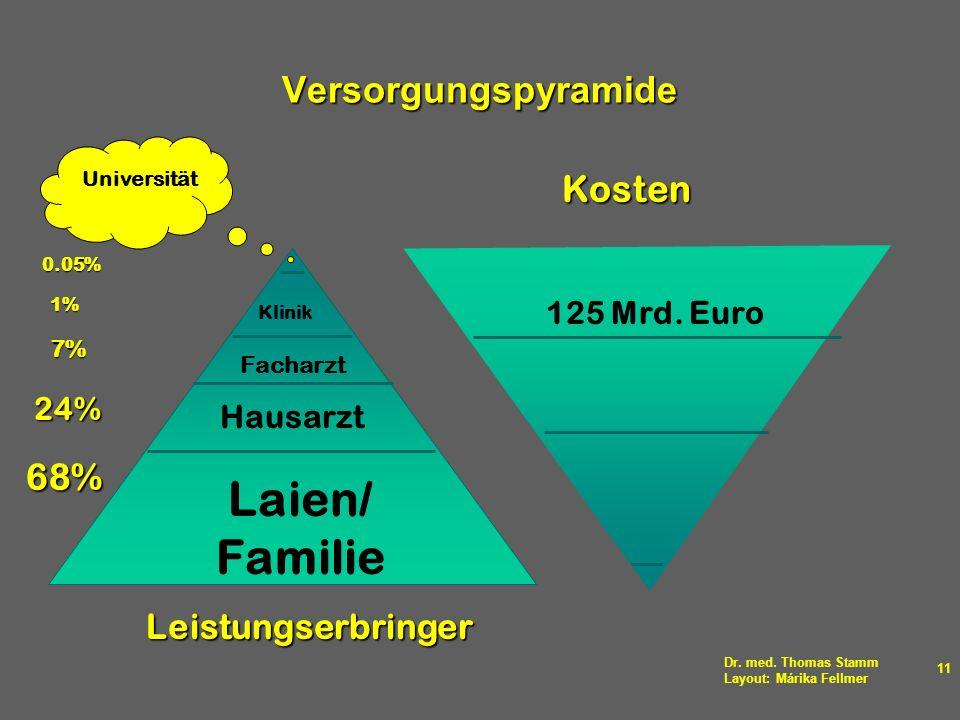 Dr. med. Thomas Stamm Layout: Márika Fellmer 11 Versorgungspyramide Hausarzt Facharzt Klinik Laien/ Familie Universität Leistungserbringer 68% 24% 7%