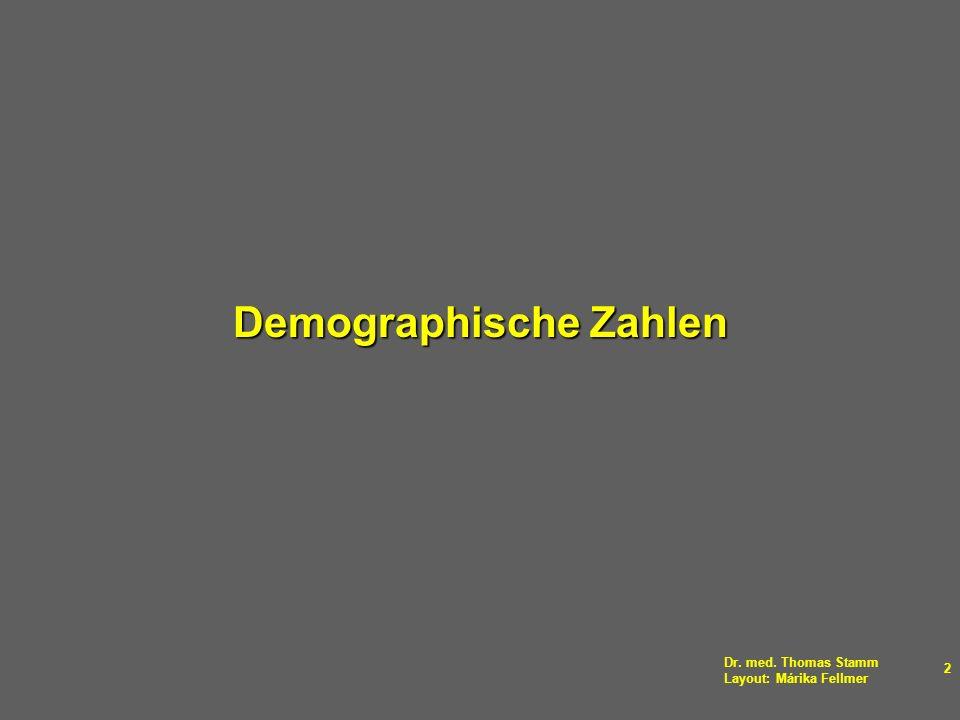 Dr. med. Thomas Stamm Layout: Márika Fellmer 2 Demographische Zahlen