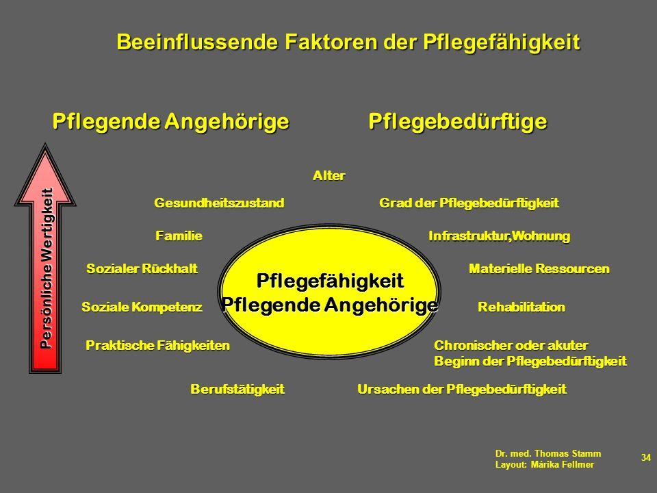 Dr. med. Thomas Stamm Layout: Márika Fellmer 34 Beeinflussende Faktoren der Pflegefähigkeit Beeinflussende Faktoren der PflegefähigkeitAlter Gesundhei