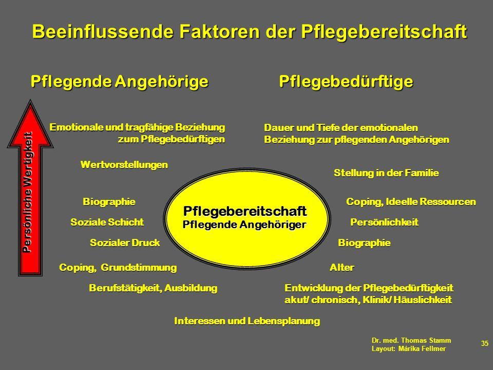 Dr. med. Thomas Stamm Layout: Márika Fellmer 35 Pflegebereitschaft Pflegende Angehöriger Wertvorstellungen Sozialer Druck Coping, Grundstimmung Biogra