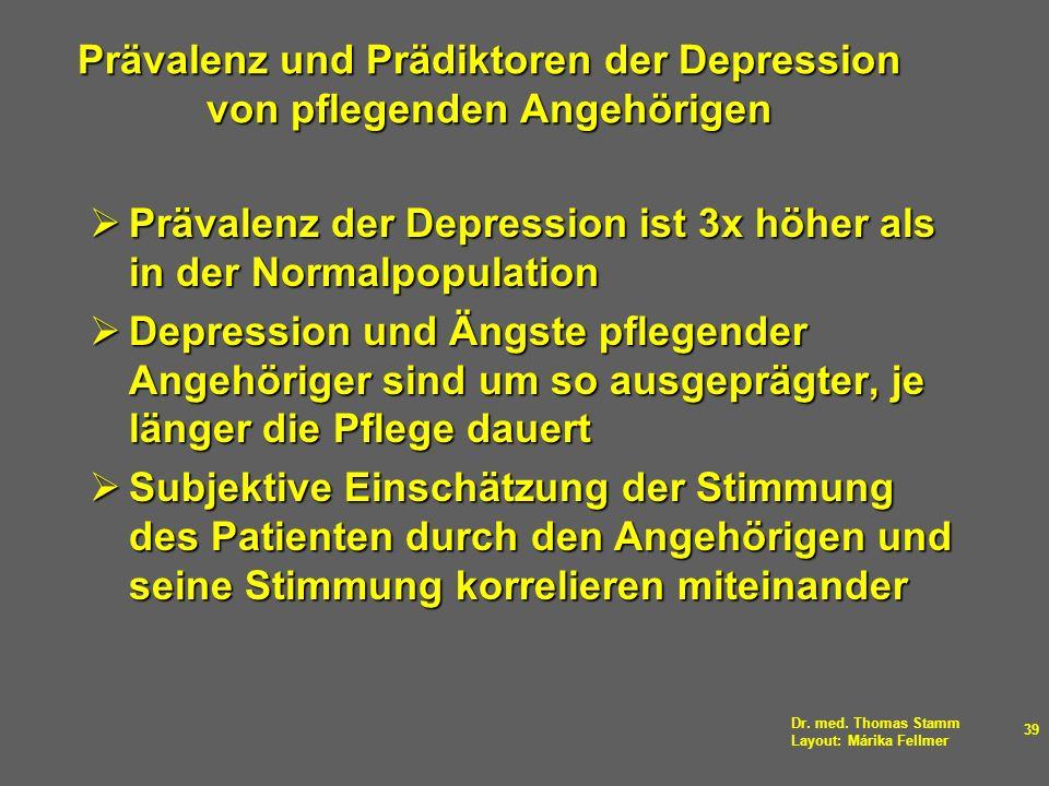 Dr. med. Thomas Stamm Layout: Márika Fellmer 39 Prävalenz und Prädiktoren der Depression von pflegenden Angehörigen Prävalenz der Depression ist 3x hö