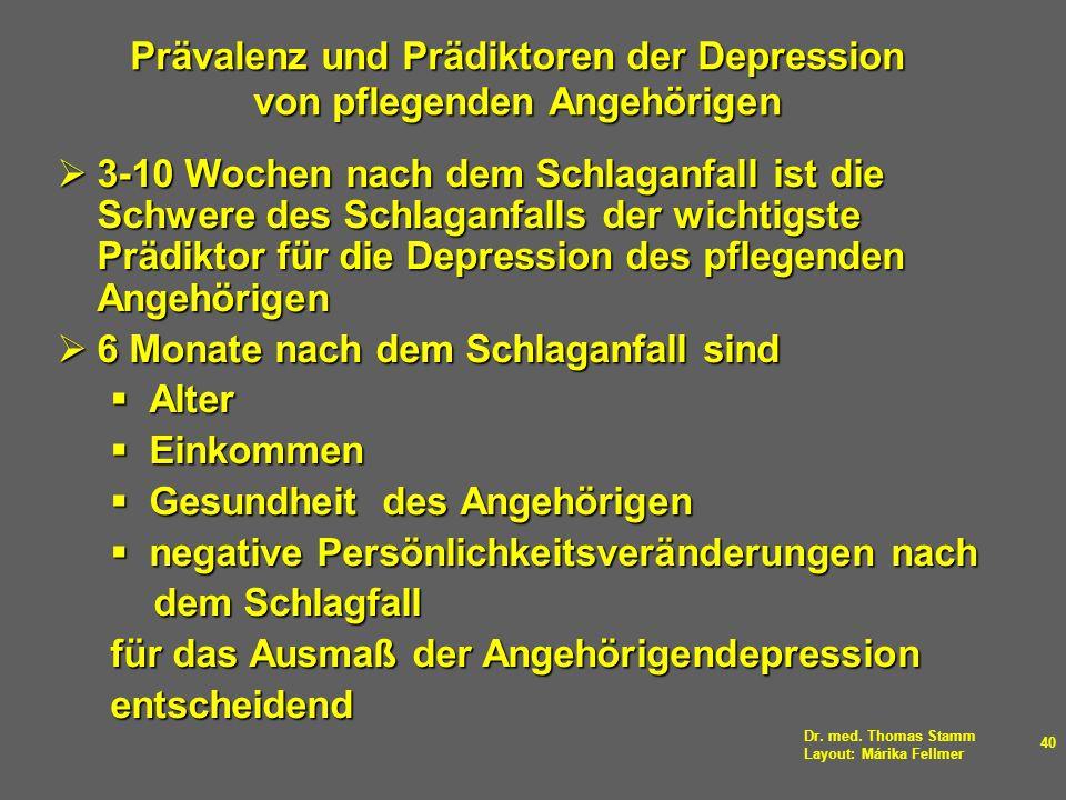 Dr. med. Thomas Stamm Layout: Márika Fellmer 40 Prävalenz und Prädiktoren der Depression von pflegenden Angehörigen 3-10 Wochen nach dem Schlaganfall