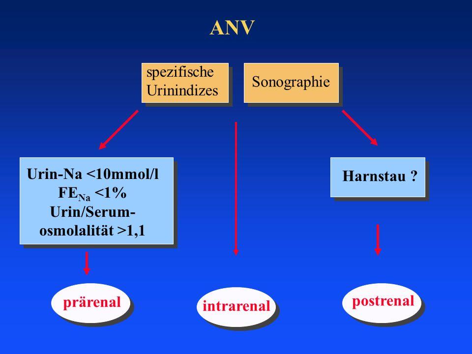ANV prärenal postrenal intrarenal spezifische Urinindizes Sonographie Harnstau ? Urin-Na <10mmol/l FE Na <1% Urin/Serum- osmolalität >1,1