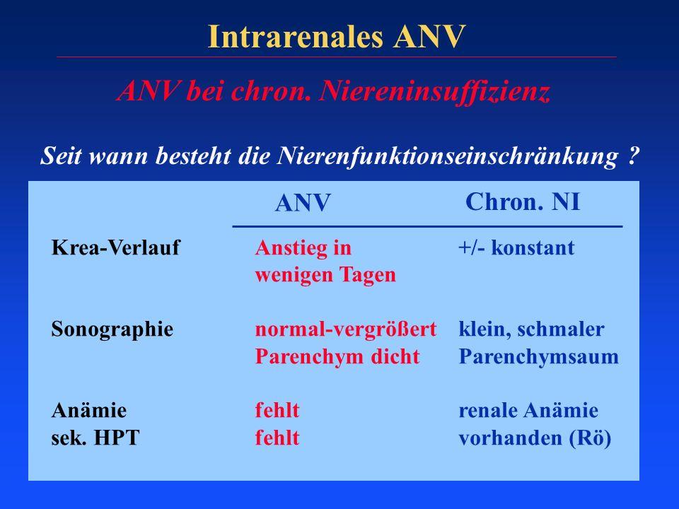 Intrarenales ANV ANV bei chron. Niereninsuffizienz Seit wann besteht die Nierenfunktionseinschränkung ? ANV Chron. NI Krea-VerlaufAnstieg in +/- konst