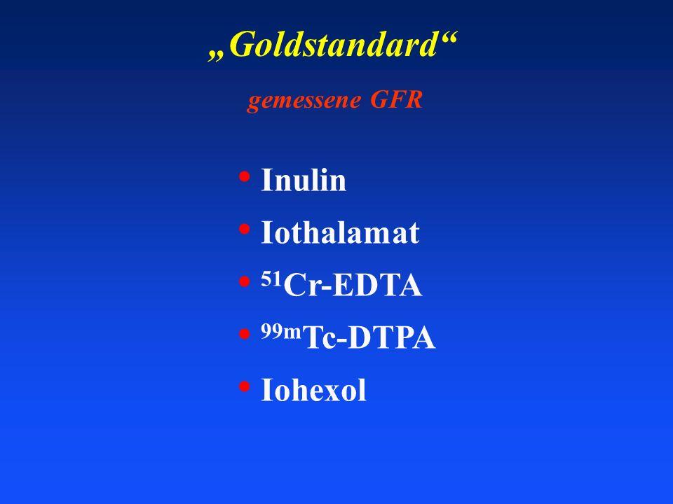 Goldstandard gemessene GFR Inulin Iothalamat 51 Cr-EDTA 99m Tc-DTPA Iohexol