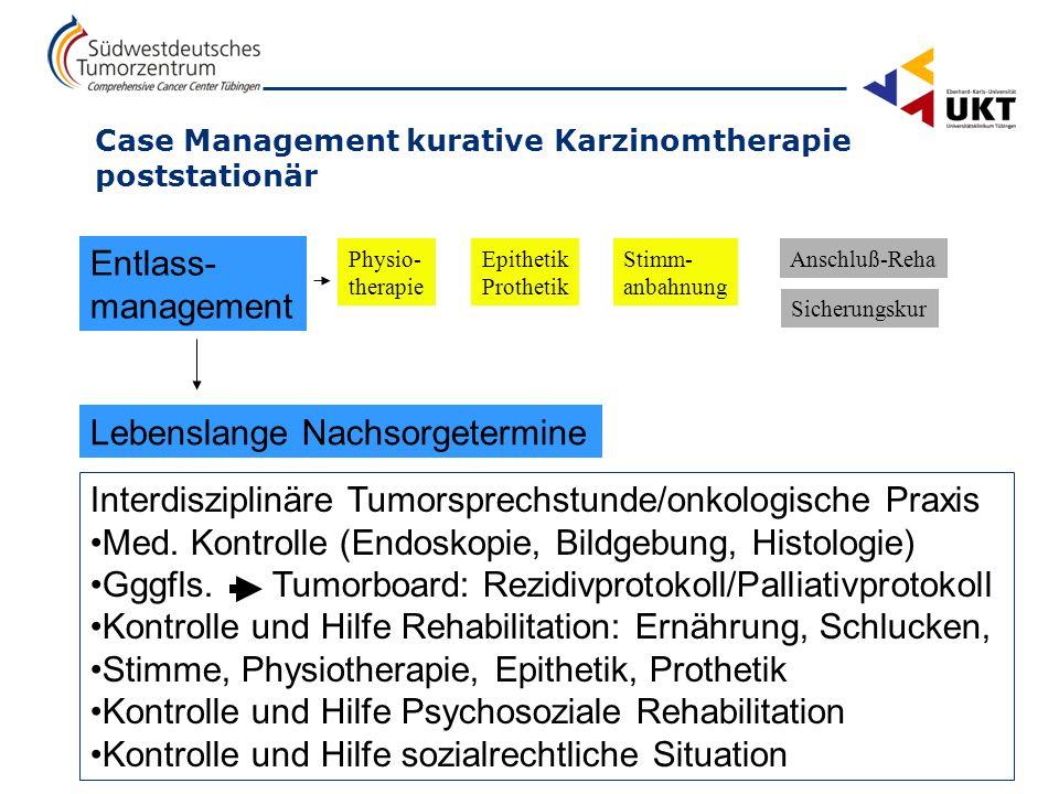 ZKHT Südwestdeutsches Tumorzentrum – Comprehensive Cancer Center Tübingen 3 Case Management kurative Karzinomtherapie poststationär Physio- therapie E