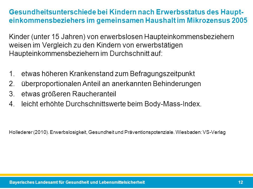 Bayerisches Landesamt für Gesundheit und Lebensmittelsicherheit 12 Gesundheitsunterschiede bei Kindern nach Erwerbsstatus des Haupt- einkommensbeziehe