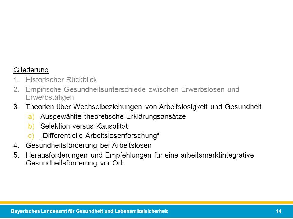 Bayerisches Landesamt für Gesundheit und Lebensmittelsicherheit 14 Gliederung 1.Historischer Rückblick 2.Empirische Gesundheitsunterschiede zwischen E