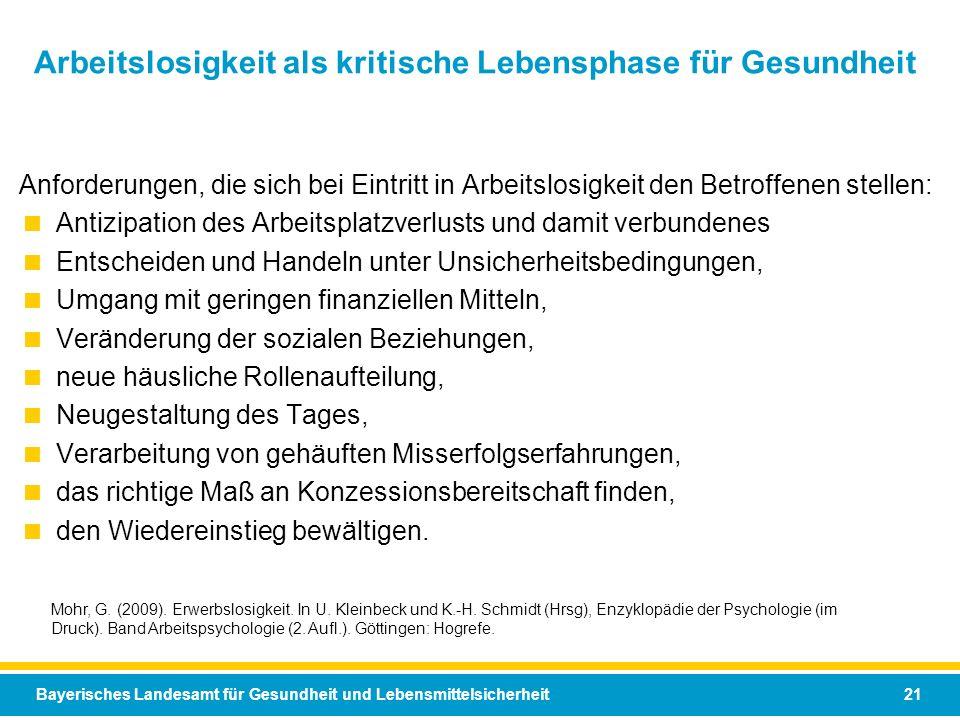 Bayerisches Landesamt für Gesundheit und Lebensmittelsicherheit 21 Arbeitslosigkeit als kritische Lebensphase für Gesundheit Mohr, G. (2009). Erwerbsl