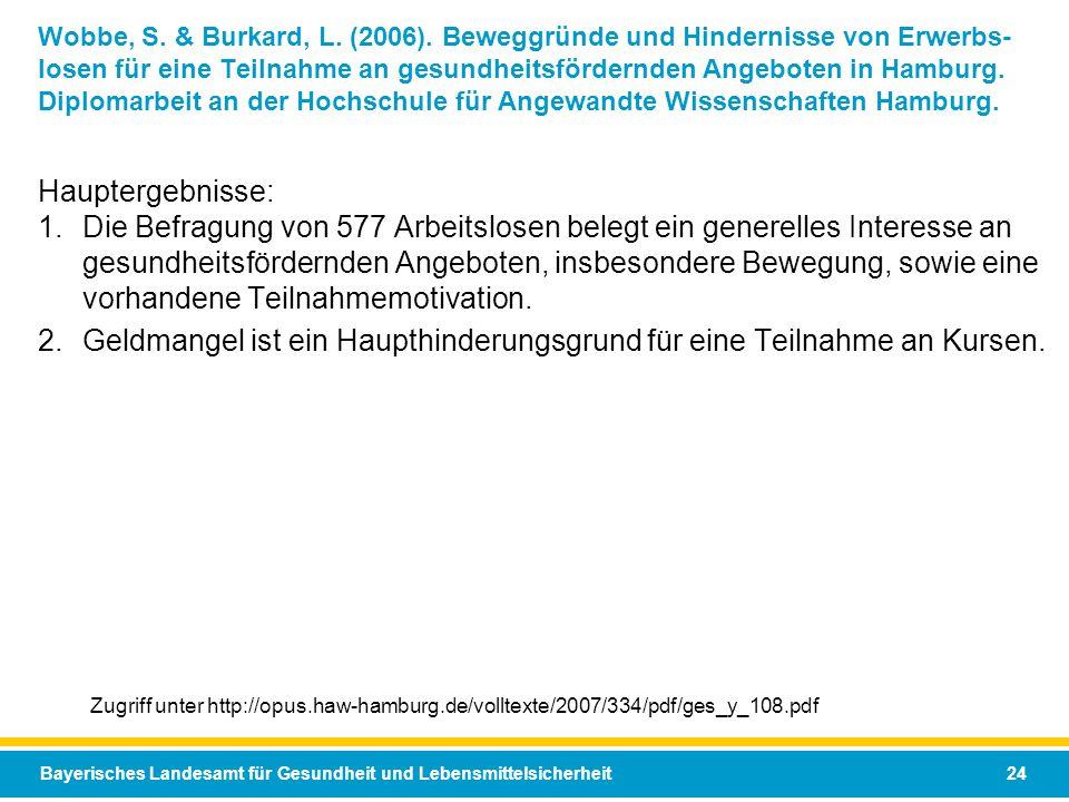Bayerisches Landesamt für Gesundheit und Lebensmittelsicherheit 24 Wobbe, S. & Burkard, L. (2006). Beweggründe und Hindernisse von Erwerbs- losen für