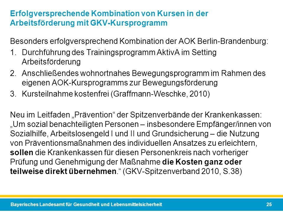 Bayerisches Landesamt für Gesundheit und Lebensmittelsicherheit 25 Erfolgversprechende Kombination von Kursen in der Arbeitsförderung mit GKV-Kursprog
