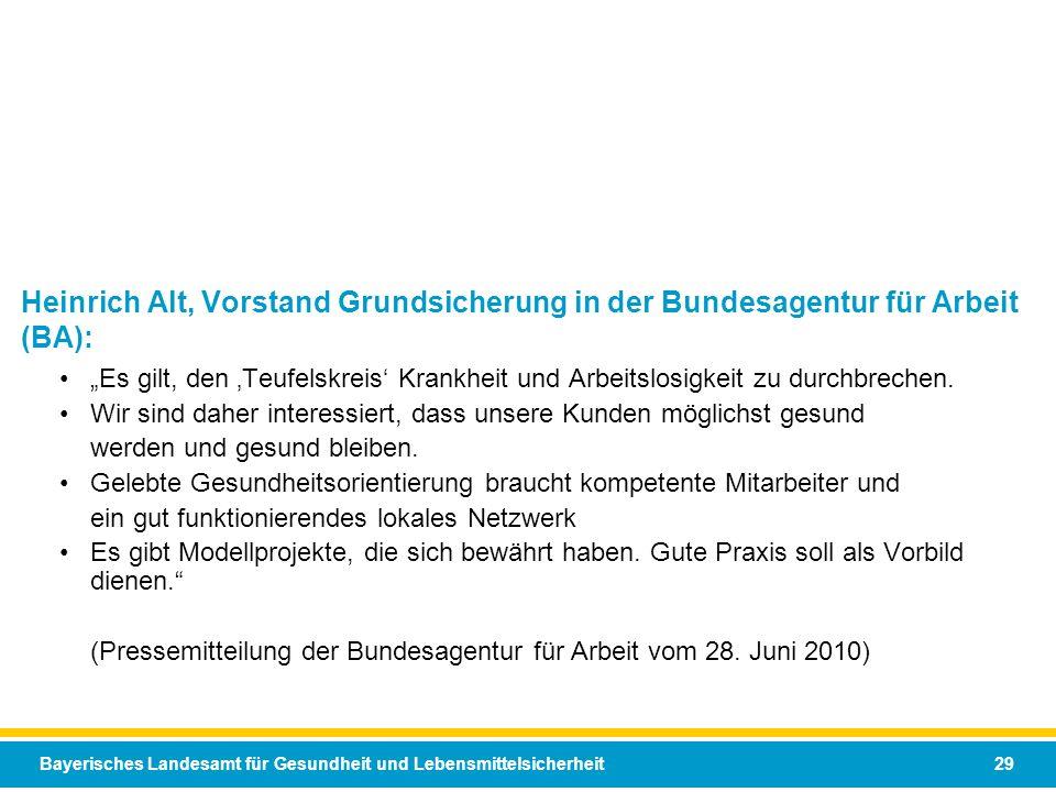 Bayerisches Landesamt für Gesundheit und Lebensmittelsicherheit 29 Es gilt, den Teufelskreis Krankheit und Arbeitslosigkeit zu durchbrechen. Wir sind