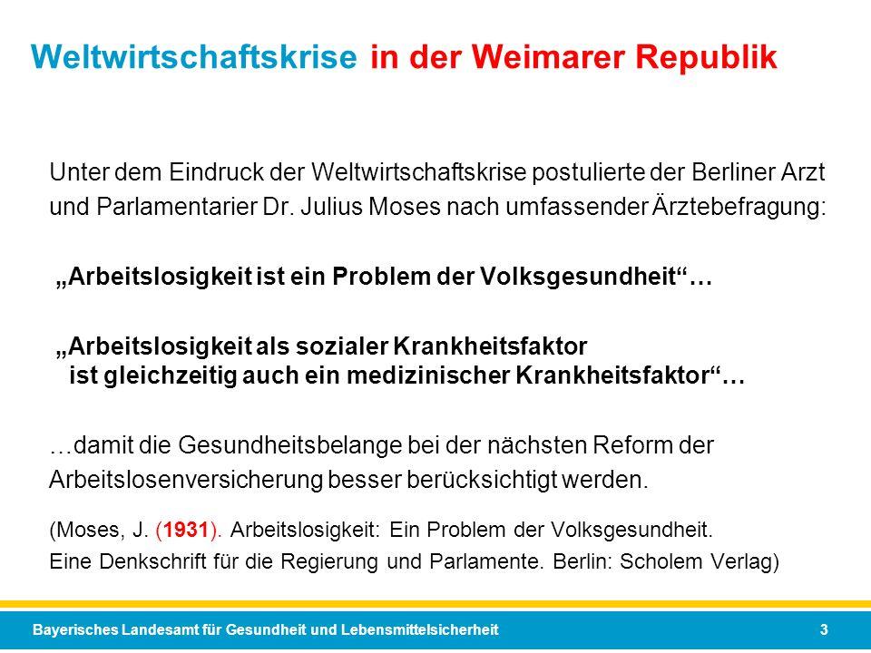 Bayerisches Landesamt für Gesundheit und Lebensmittelsicherheit 3 Weltwirtschaftskrise in der Weimarer Republik Unter dem Eindruck der Weltwirtschafts