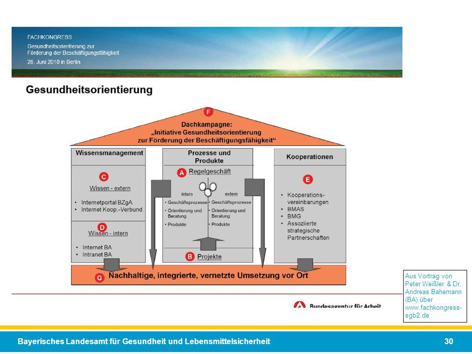 Bayerisches Landesamt für Gesundheit und Lebensmittelsicherheit 30 Aus Vortrag von Peter Weißler & Dr. Andreas Bahemann (BA) über www.fachkongress- sg