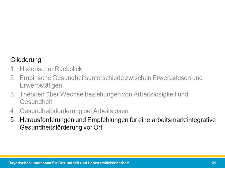Bayerisches Landesamt für Gesundheit und Lebensmittelsicherheit 31 Gliederung 1.Historischer Rückblick 2.Empirische Gesundheitsunterschiede zwischen E