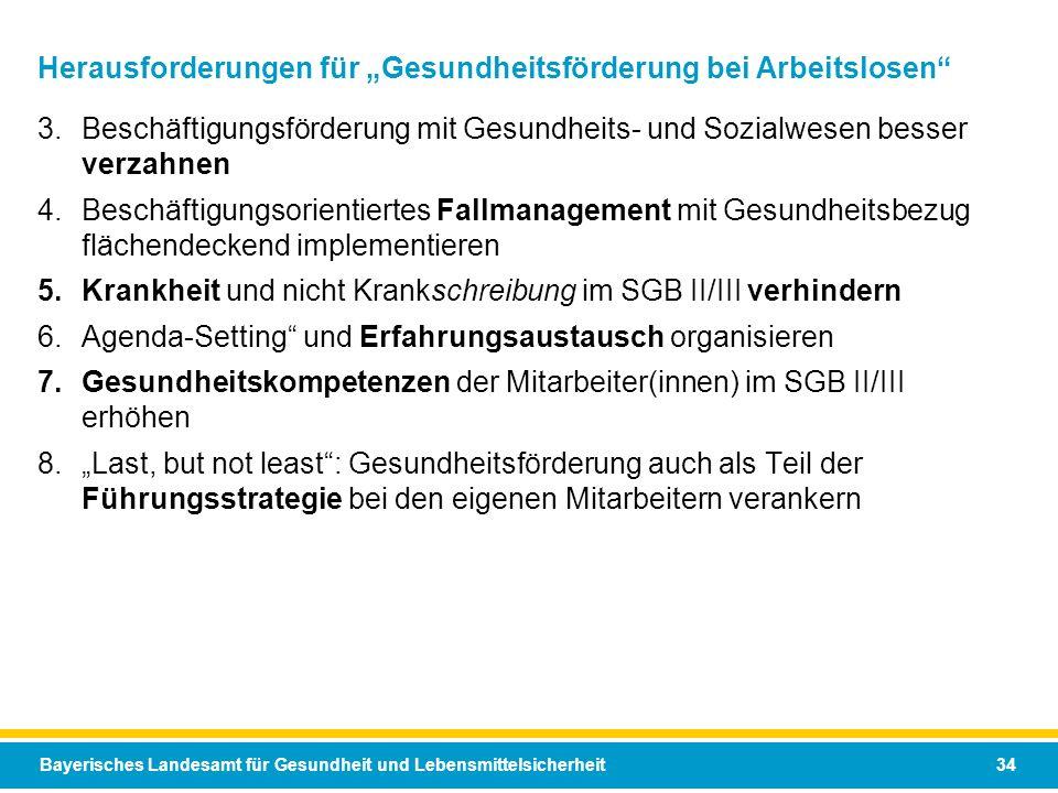 Bayerisches Landesamt für Gesundheit und Lebensmittelsicherheit 34 Herausforderungen für Gesundheitsförderung bei Arbeitslosen 3.Beschäftigungsförderu