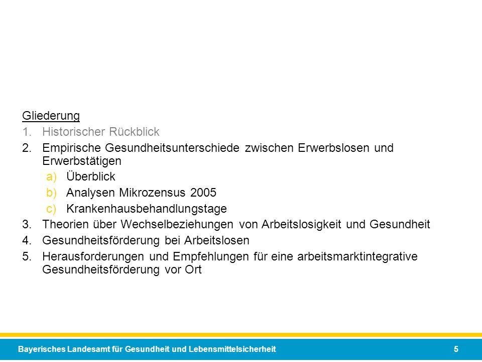 Bayerisches Landesamt für Gesundheit und Lebensmittelsicherheit 5 Gliederung 1.Historischer Rückblick 2.Empirische Gesundheitsunterschiede zwischen Er