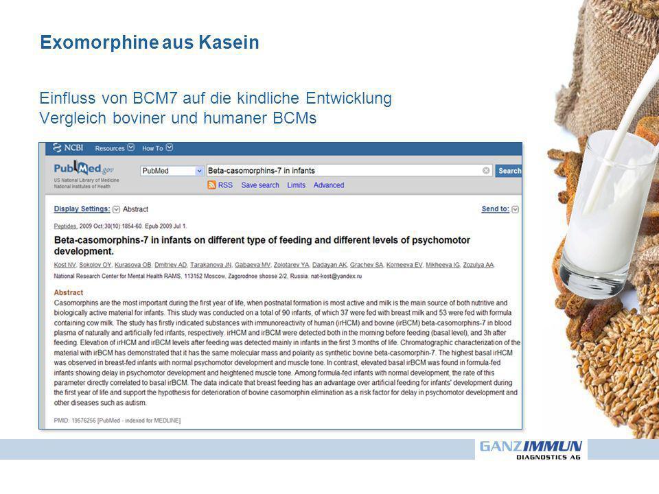 Exomorphine aus Kasein Einfluss von BCM7 auf die kindliche Entwicklung Vergleich boviner und humaner BCMs