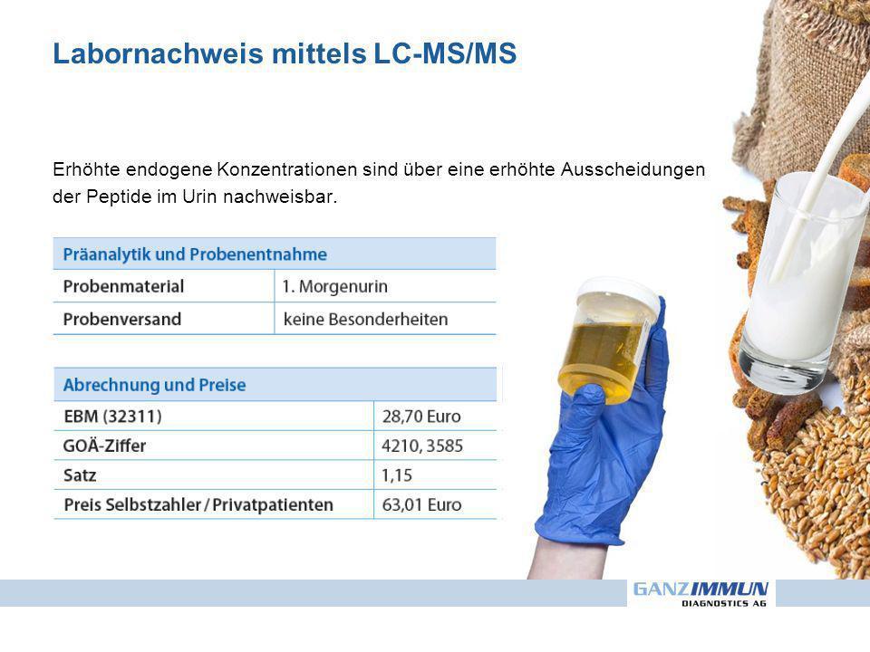 Labornachweis mittels LC-MS/MS Erhöhte endogene Konzentrationen sind über eine erhöhte Ausscheidungen der Peptide im Urin nachweisbar.
