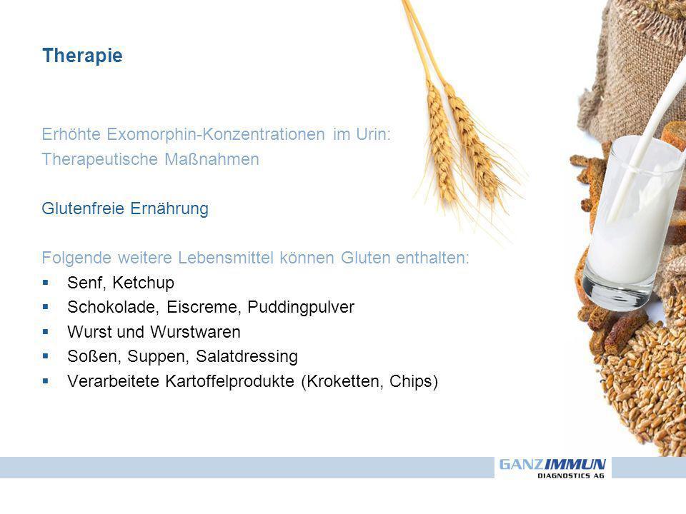 Erhöhte Exomorphin-Konzentrationen im Urin: Therapeutische Maßnahmen Glutenfreie Ernährung Folgende weitere Lebensmittel können Gluten enthalten: Senf