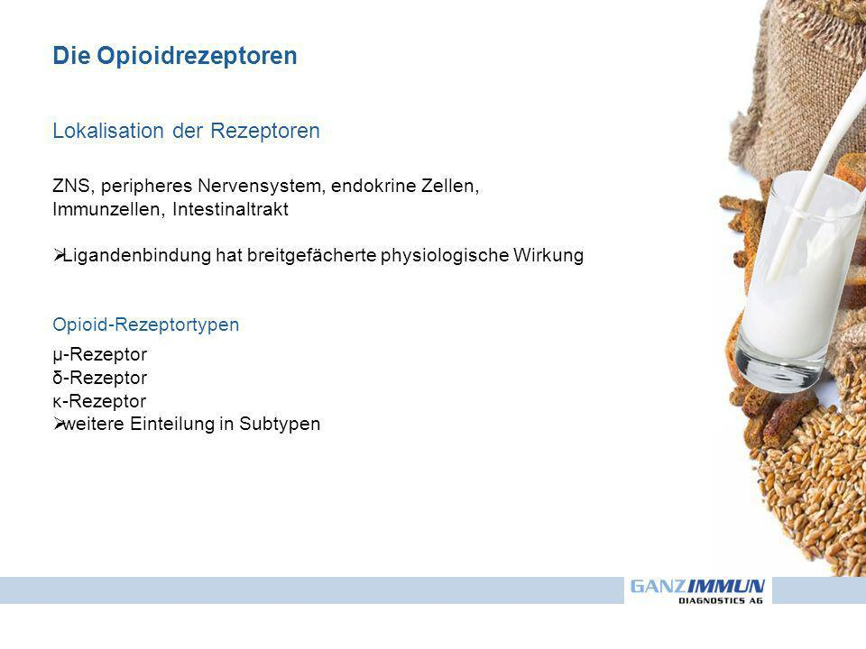 Die Opioidrezeptoren Lokalisation der Rezeptoren ZNS, peripheres Nervensystem, endokrine Zellen, Immunzellen, Intestinaltrakt Ligandenbindung hat breitgefächerte physiologische Wirkung Opioid-Rezeptortypen µ-Rezeptor δ-Rezeptor κ-Rezeptor weitere Einteilung in Subtypen