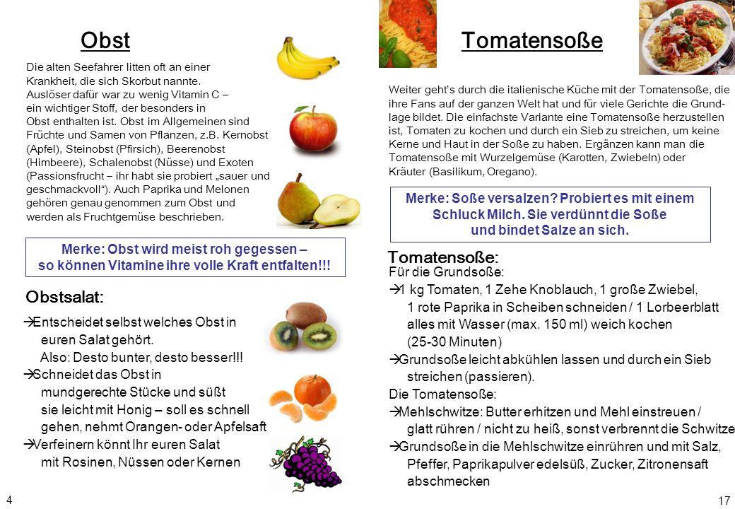 Obst Obstsalat: Merke: Obst wird meist roh gegessen – so können Vitamine ihre volle Kraft entfalten!!! Entscheidet selbst welches Obst in euren Salat