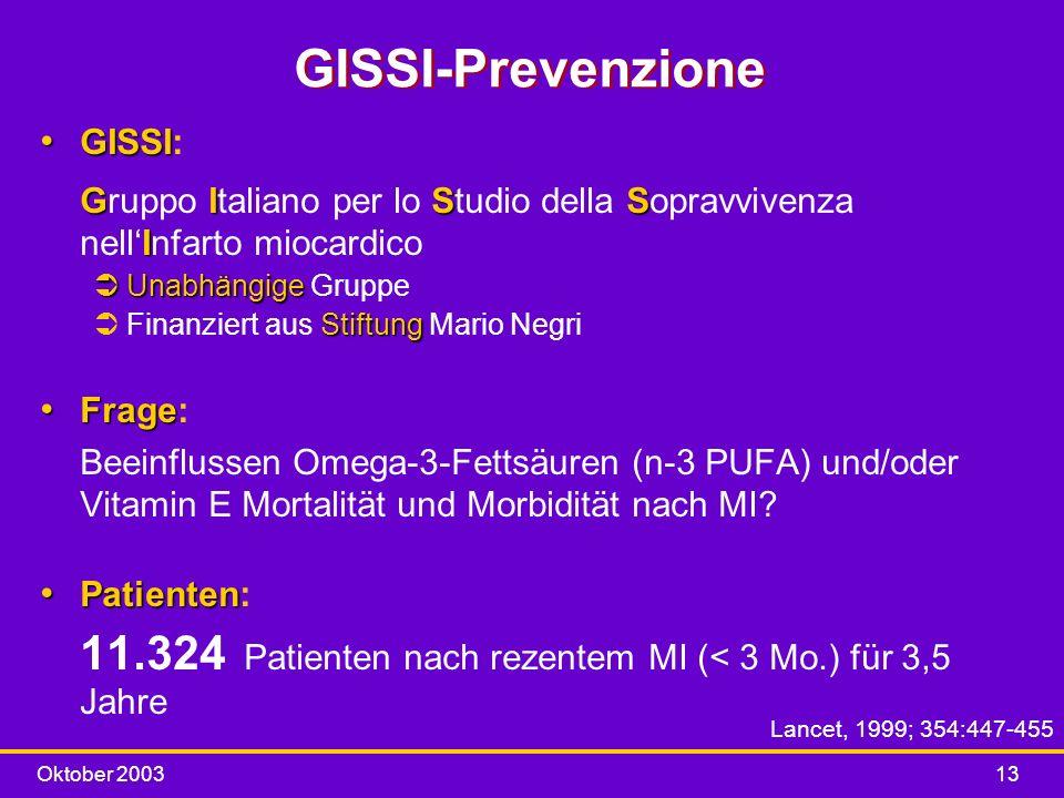 Oktober 200313 GISSI-Prevenzione GISSI GISS I GISSI: Gruppo Italiano per lo Studio della Sopravvivenza nellInfarto miocardico ÜUnabhängige ÜUnabhängig