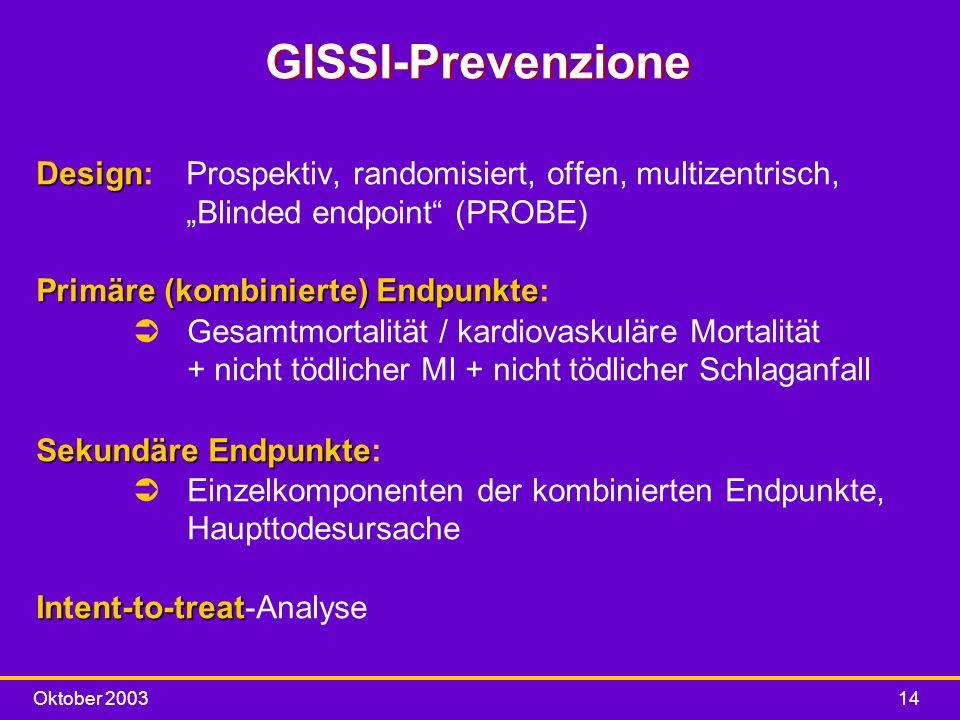 Oktober 200314 GISSI-Prevenzione Design Design: Prospektiv, randomisiert, offen, multizentrisch, Blinded endpoint (PROBE) Primäre(kombinierte) Endpunk
