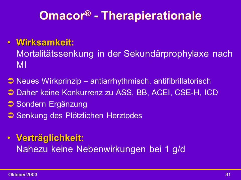 Oktober 200331 Omacor ® - Therapierationale WirksamkeitWirksamkeit: Mortalitätssenkung in der Sekundärprophylaxe nach MI ÜNeues Wirkprinzip – antiarrh