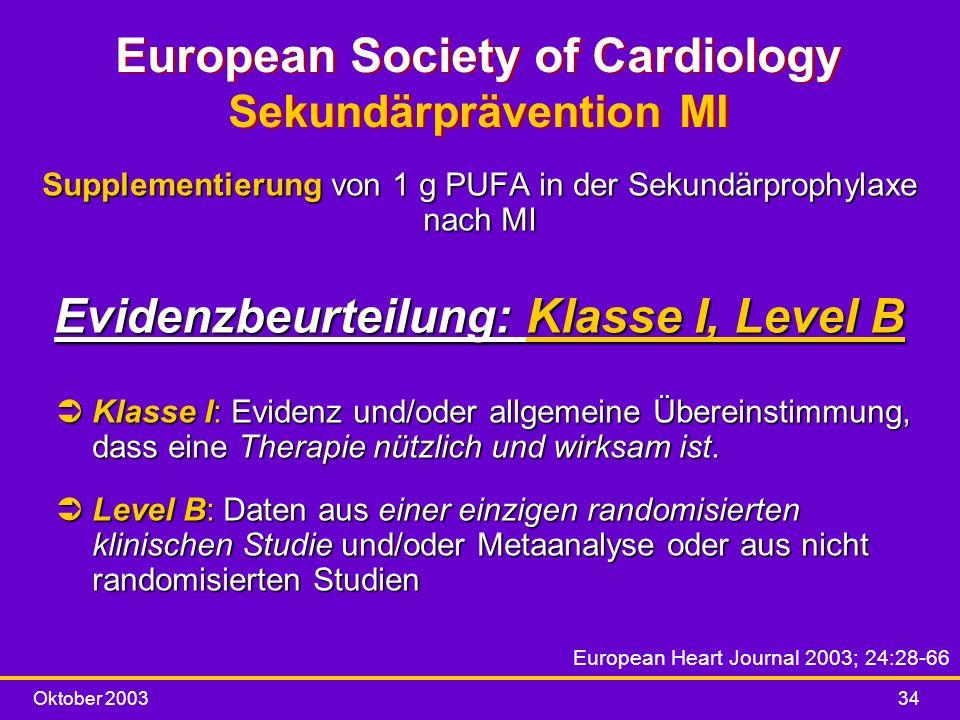 Oktober 200334 European Society of Cardiology Sekundärprävention MI Supplementierung von 1 g PUFA in der Sekundärprophylaxe nach MI Evidenzbeurteilung