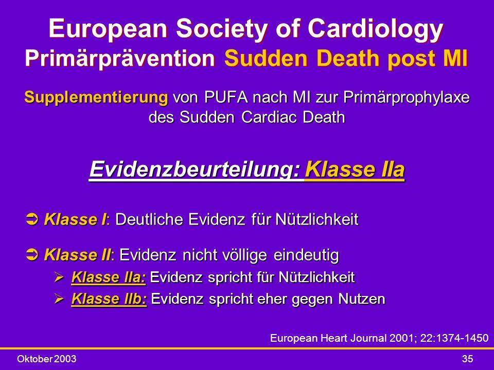 Oktober 200335 European Society of Cardiology Primärprävention Sudden Death post MI Supplementierung von PUFA nach MI zur Primärprophylaxe des Sudden