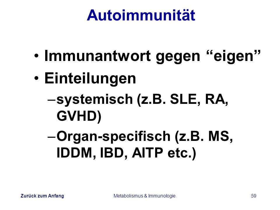 Zurück zum Anfang Metabolismus & Immunologie59 Autoimmunität Immunantwort gegen eigen Einteilungen –systemisch (z.B. SLE, RA, GVHD) –Organ-specifisch