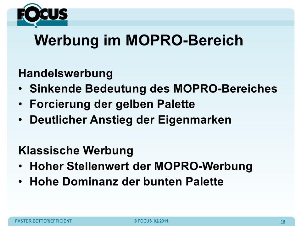 FASTER|BETTER|EFFICIENT © FOCUS 02/2011 19 Werbung im MOPRO-Bereich Handelswerbung Sinkende Bedeutung des MOPRO-Bereiches Forcierung der gelben Palett