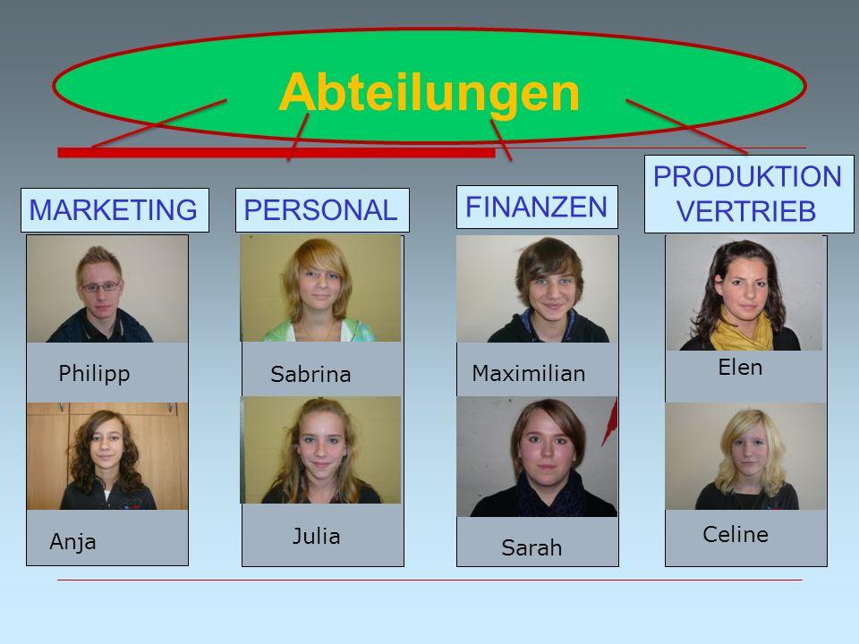 Abteilungen FINANZEN PERSONALMARKETING PRODUKTION VERTRIEB Brütting Max Julia Maximilian Philipp Elen Anja Sabrina Sarah Celine