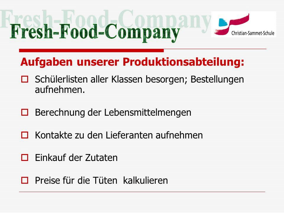 Aufgaben unserer Produktionsabteilung: Schülerlisten aller Klassen besorgen; Bestellungen aufnehmen. Berechnung der Lebensmittelmengen Kontakte zu den