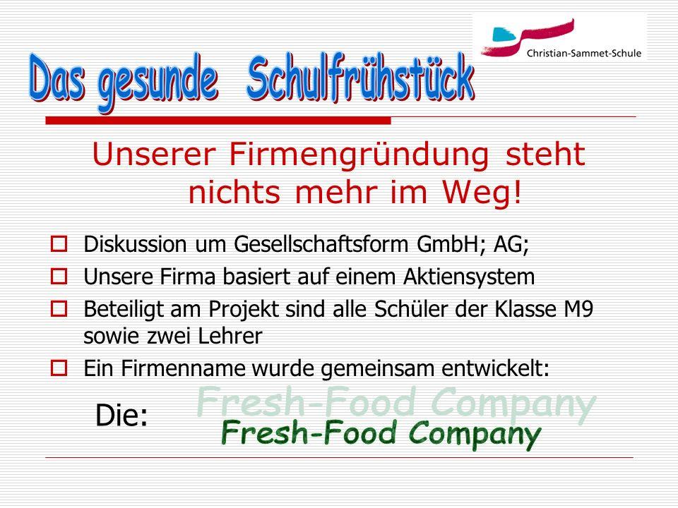 Unserer Firmengründung steht nichts mehr im Weg! Diskussion um Gesellschaftsform GmbH; AG; Unsere Firma basiert auf einem Aktiensystem Beteiligt am Pr