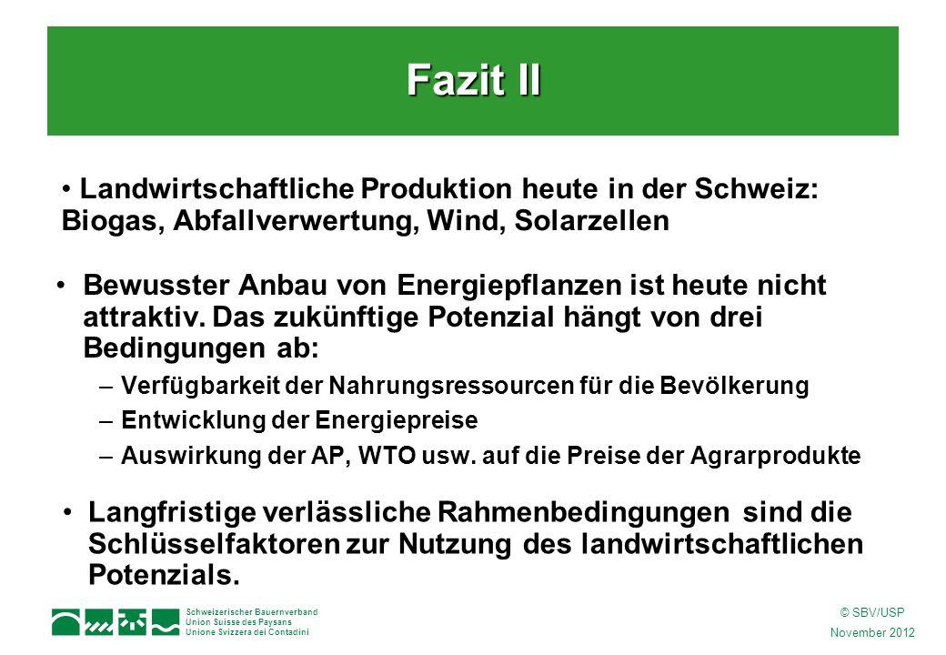 Schweizerischer Bauernverband Union Suisse des Paysans Unione Svizzera dei Contadini © SBV/USP November 2012 Langfristige verlässliche Rahmenbedingungen sind die Schlüsselfaktoren zur Nutzung des landwirtschaftlichen Potenzials.