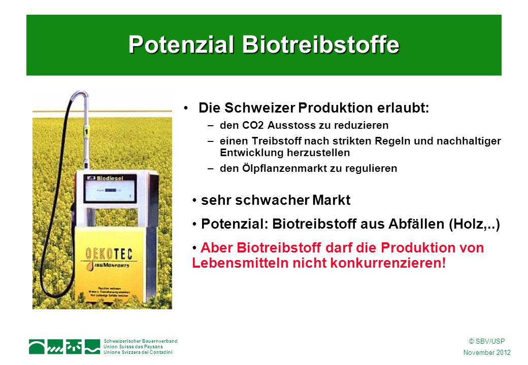 Schweizerischer Bauernverband Union Suisse des Paysans Unione Svizzera dei Contadini © SBV/USP November 2012 Die Schweizer Produktion erlaubt: –den CO2 Ausstoss zu reduzieren –einen Treibstoff nach strikten Regeln und nachhaltiger Entwicklung herzustellen –den Ölpflanzenmarkt zu regulieren sehr schwacher Markt Potenzial: Biotreibstoff aus Abfällen (Holz,..) Aber Biotreibstoff darf die Produktion von Lebensmitteln nicht konkurrenzieren.