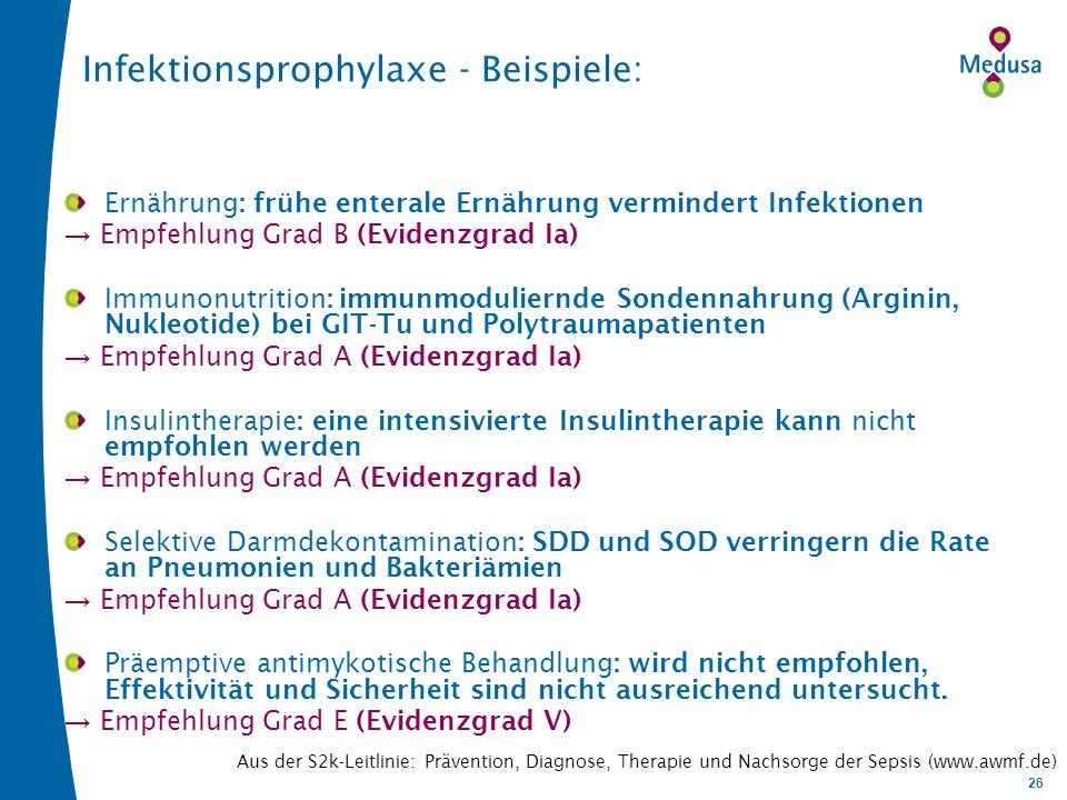 26 Infektionsprophylaxe - Beispiele: Ernährung: frühe enterale Ernährung vermindert Infektionen Empfehlung Grad B (Evidenzgrad Ia) Immunonutrition: immunmoduliernde Sondennahrung (Arginin, Nukleotide) bei GIT-Tu und Polytraumapatienten Empfehlung Grad A (Evidenzgrad Ia) Insulintherapie: eine intensivierte Insulintherapie kann nicht empfohlen werden Empfehlung Grad A (Evidenzgrad Ia) Selektive Darmdekontamination: SDD und SOD verringern die Rate an Pneumonien und Bakteriämien Empfehlung Grad A (Evidenzgrad Ia) Präemptive antimykotische Behandlung: wird nicht empfohlen, Effektivität und Sicherheit sind nicht ausreichend untersucht.