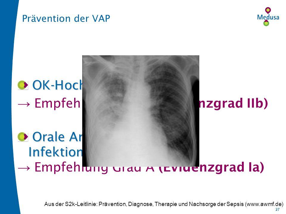 27 Prävention der VAP OK-Hochlagerung 45° OK-Hochlagerung 45° Empfehlung Grad B (Evidenzgrad IIb) Orale Antiseptika zur Infektionsprophylaxe Orale Antiseptika zur Infektionsprophylaxe Empfehlung Grad A (Evidenzgrad Ia) Aus der S2k-Leitlinie: Prävention, Diagnose, Therapie und Nachsorge der Sepsis (www.awmf.de)