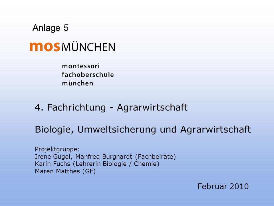 4. Fachrichtung - Agrarwirtschaft Biologie, Umweltsicherung und Agrarwirtschaft Projektgruppe: Irene Gügel, Manfred Burghardt (Fachbeiräte) Karin Fuch