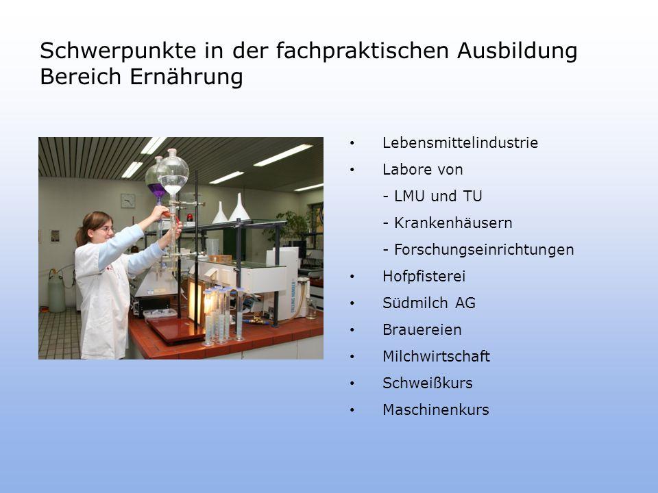 Schwerpunkte in der fachpraktischen Ausbildung Bereich Ernährung Lebensmittelindustrie Labore von - LMU und TU - Krankenhäusern - Forschungseinrichtungen Hofpfisterei Südmilch AG Brauereien Milchwirtschaft Schweißkurs Maschinenkurs