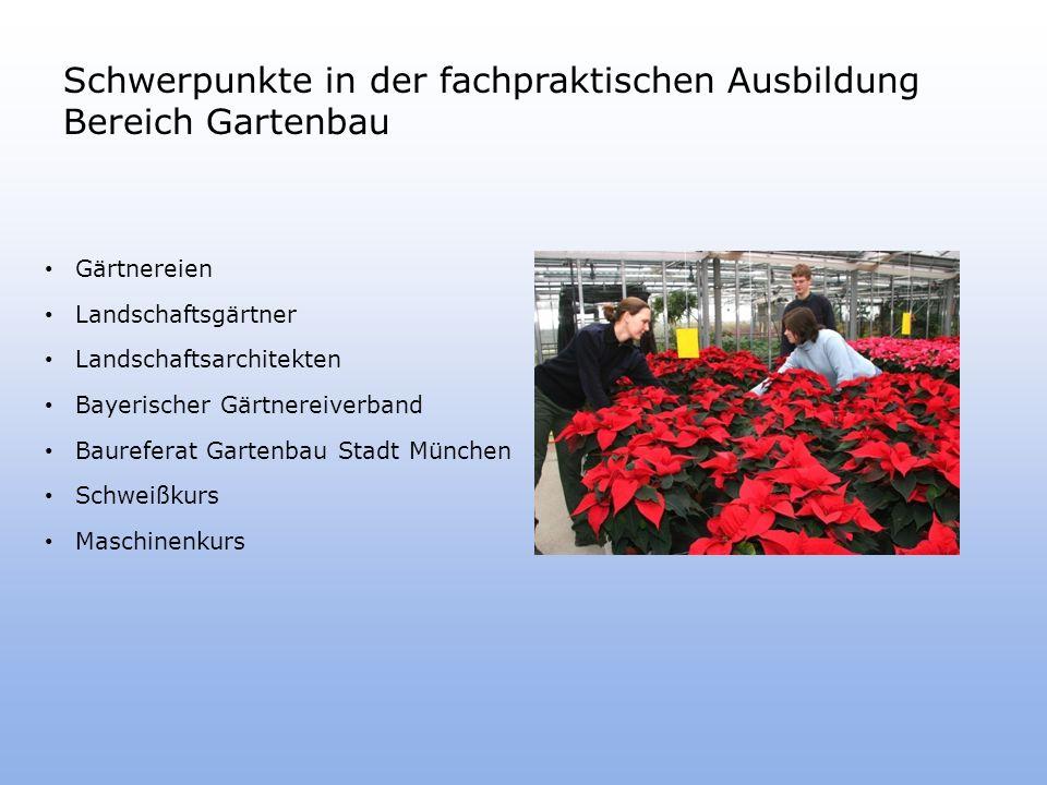 Schwerpunkte in der fachpraktischen Ausbildung Bereich Gartenbau Gärtnereien Landschaftsgärtner Landschaftsarchitekten Bayerischer Gärtnereiverband Baureferat Gartenbau Stadt München Schweißkurs Maschinenkurs