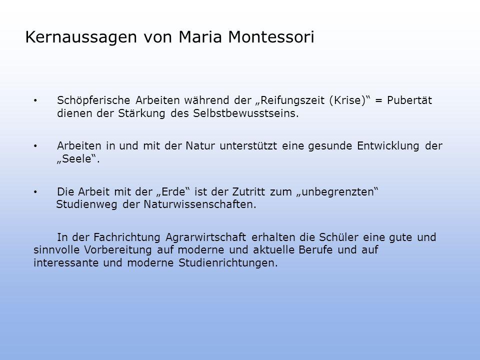 Kernaussagen von Maria Montessori Schöpferische Arbeiten während der Reifungszeit (Krise) = Pubertät dienen der Stärkung des Selbstbewusstseins.