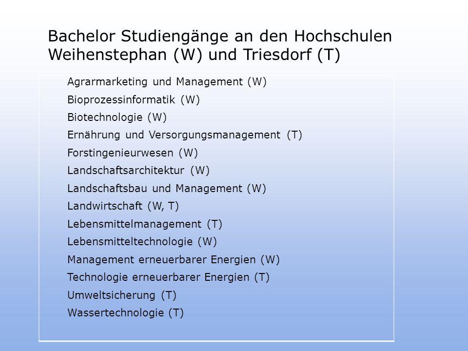 Bachelor Studiengänge an den Hochschulen Weihenstephan (W) und Triesdorf (T) Agrarmarketing und Management (W) Bioprozessinformatik (W) Biotechnologie (W) Ernährung und Versorgungsmanagement (T) Forstingenieurwesen (W) Landschaftsarchitektur (W) Landschaftsbau und Management (W) Landwirtschaft (W, T) Lebensmittelmanagement (T) Lebensmitteltechnologie (W) Management erneuerbarer Energien (W) Technologie erneuerbarer Energien (T) Umweltsicherung (T) Wassertechnologie (T)