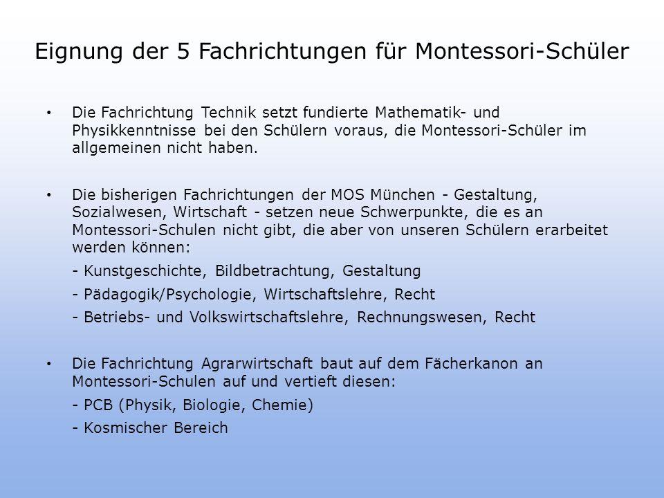 Eignung der 5 Fachrichtungen für Montessori-Schüler Die Fachrichtung Technik setzt fundierte Mathematik- und Physikkenntnisse bei den Schülern voraus, die Montessori-Schüler im allgemeinen nicht haben.