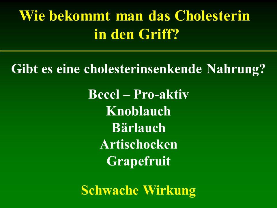 Gibt es eine cholesterinsenkende Nahrung? Becel – Pro-aktiv Knoblauch Bärlauch Artischocken Grapefruit Wie bekommt man das Cholesterin in den Griff? S