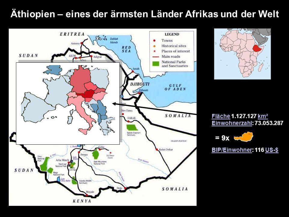 Äthiopien – eines der ärmsten Länder Afrikas und der Welt FlächeFläche 1.127.127 km²km² EinwohnerzahlEinwohnerzahl: 73.053.287 BIP/EinwohnerBIP/Einwoh
