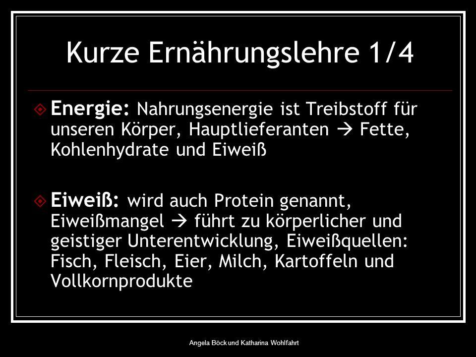 Angela Böck und Katharina Wohlfahrt Kurze Ernährungslehre 1/4 Energie: Nahrungsenergie ist Treibstoff für unseren Körper, Hauptlieferanten Fette, Kohlenhydrate und Eiweiß Eiweiß: wird auch Protein genannt, Eiweißmangel führt zu körperlicher und geistiger Unterentwicklung, Eiweißquellen: Fisch, Fleisch, Eier, Milch, Kartoffeln und Vollkornprodukte